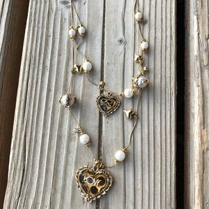 Fab Betsey Johnson Pearl Leopard Heart Necklace!